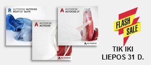 "TRUMPALAIKĖ NUOLAIDA ""Autodesk"" produktams. 25% pigiau AutoCAD, AutoCAD LT, Revit LT Suite"