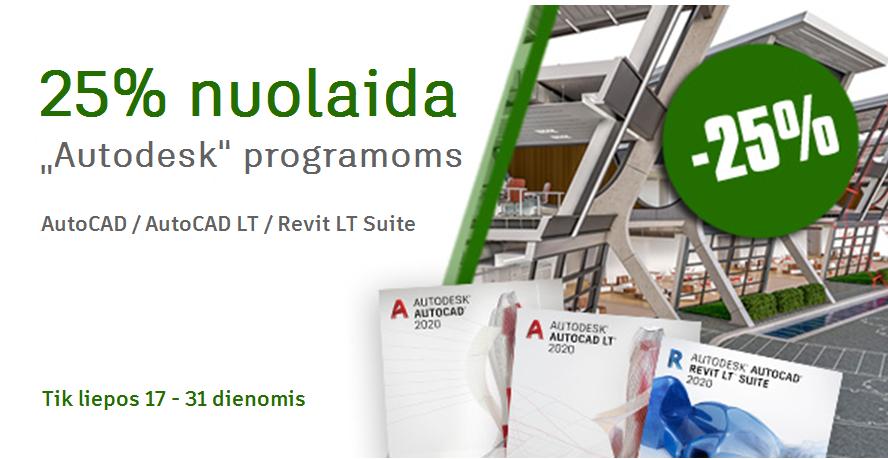 """TRUMPALAIKĖ NUOLAIDA """"Autodesk"""" produktams  25% pigiau"""